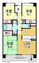 サニークレスト平野西脇[6O4号室号室]の間取り