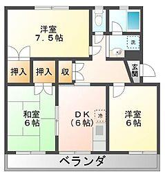 静岡県三島市幸原町1丁目の賃貸マンションの間取り