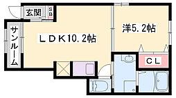 JR山陽本線 網干駅 徒歩8分の賃貸アパート 1階1LDKの間取り