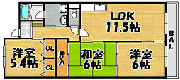 兵庫県川西市中央町の賃貸マンションの間取り