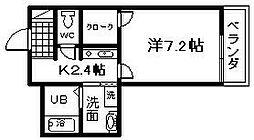 南海線 春木駅 徒歩9分の賃貸マンション 1階1Kの間取り