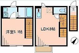 東京都北区滝野川6丁目の賃貸アパートの間取り
