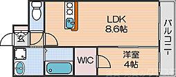 Osaka Metro四つ橋線 北加賀屋駅 徒歩8分の賃貸マンション 5階1LDKの間取り