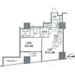 カスタリアタワー品川シーサイド 17階1LDKの間取り