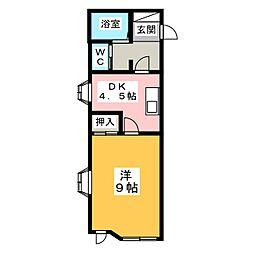 アルファネクスト遠見塚[1階]の間取り