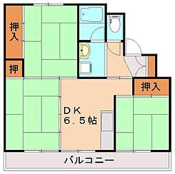 福岡県飯塚市有安の賃貸マンションの間取り