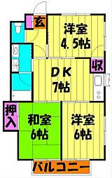 植竹ハイツ[2階]の間取り
