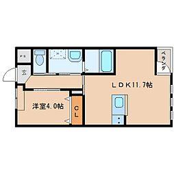 近鉄橿原線 新ノ口駅 徒歩10分の賃貸アパート 1階1LDKの間取り