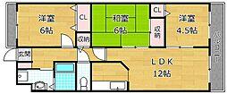 大阪府枚方市南船橋1丁目の賃貸マンションの間取り