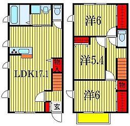 [テラスハウス] 千葉県船橋市滝台2丁目 の賃貸【千葉県 / 船橋市】の間取り