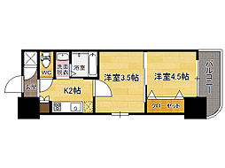 福岡市地下鉄箱崎線 貝塚駅 徒歩12分の賃貸マンション 8階2Kの間取り