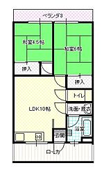 古田マンション 弁天町[4階]の間取り