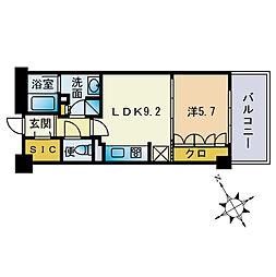 ザ・パークハウス福岡タワーズEAST 20階1LDKの間取り