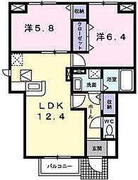 兵庫県姫路市花田町上原田の賃貸アパートの間取り