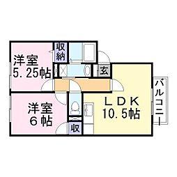 兵庫県加古郡稲美町国岡5丁目の賃貸アパートの間取り