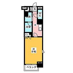 グラン・アベニュー鶴舞公園 4階1Kの間取り