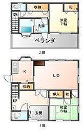 [一戸建] 徳島県徳島市丈六町八万免 の賃貸【/】の間取り