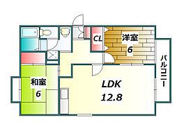 兵庫県西宮市山口町名来2丁目の賃貸アパートの間取り