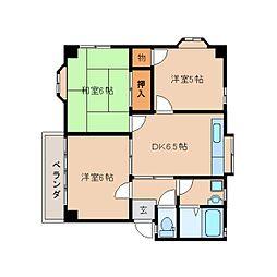 静岡県静岡市駿河区みずほの賃貸マンションの間取り