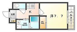 レーヴメゾン守口京阪本通 4階1Kの間取り