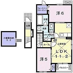 静岡県富士市宮島の賃貸アパートの間取り