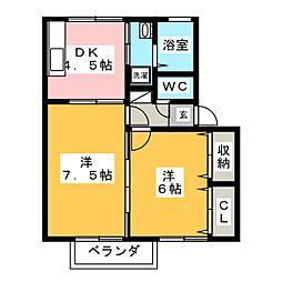 群馬県高崎市倉賀野町の賃貸アパートの間取り