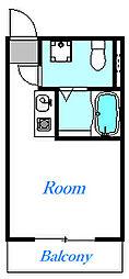 フォレストコート鷲宮 1階ワンルームの間取り