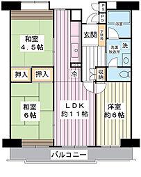 美浜東エステート11号棟[11階]の間取り