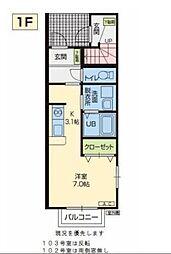 JR奥羽本線 山形駅 バス20分 東青田3丁目下車 徒歩4分の賃貸アパート 1階ワンルームの間取り