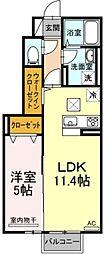 チェリーガーデン 1階1LDKの間取り