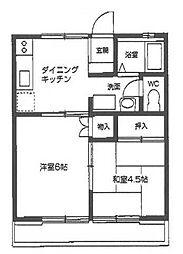 東京都立川市栄町6丁目の賃貸アパートの間取り