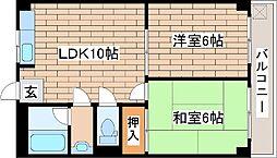 兵庫県神戸市中央区旗塚通3丁目の賃貸マンションの間取り