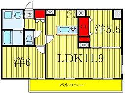 JR埼京線 北赤羽駅 徒歩12分の賃貸マンション 3階2LDKの間取り