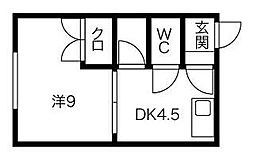 北海道札幌市清田区平岡一条3丁目の賃貸アパートの間取り