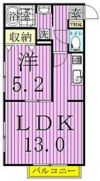 カーサフェリーチェ(鎌ヶ谷)[202号室]の間取り
