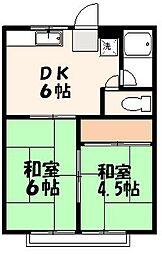 ふじコーポB棟[2階]の間取り