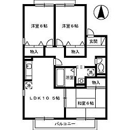 アヴニールF棟[2階]の間取り