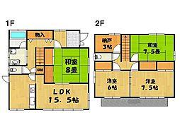 [一戸建] 茨城県つくば市二の宮1丁目 の賃貸【/】の間取り