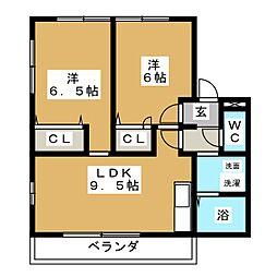 デンファーレ 1階2LDKの間取り