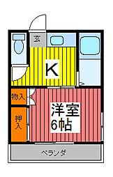 喜沢第2ハウス[105号室]の間取り