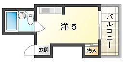 ファースト太子橋 5階ワンルームの間取り
