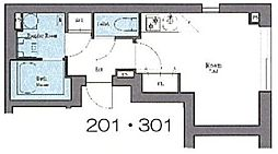 都営浅草線 蔵前駅 徒歩6分の賃貸マンション 2階ワンルームの間取り