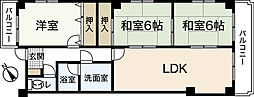 JR山陽本線 広島駅 徒歩30分の賃貸マンション 2階3LDKの間取り