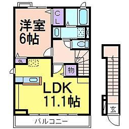 栃木県鹿沼市上野町の賃貸アパートの間取り