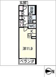ノーブルステージ 2階ワンルームの間取り