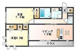 グロリアハイツはびきの A棟[1階]の間取り