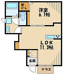 (仮称)町田市・下小山田町メゾン 1階1LDKの間取り