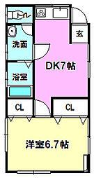 杉野原アパート 1階1DKの間取り