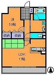 近鉄けいはんな線 学研奈良登美ヶ丘駅 徒歩4分の賃貸マンション 2階1LDKの間取り