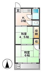 愛知県名古屋市北区八代町2丁目の賃貸マンションの間取り